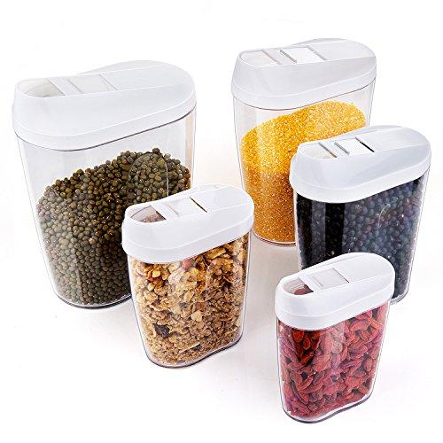 ZWOOS Müsli Behälter Vorratsdose Keeper Körner Versiegelt Dosen verdeckt Getreide Behälter, 5-teilig
