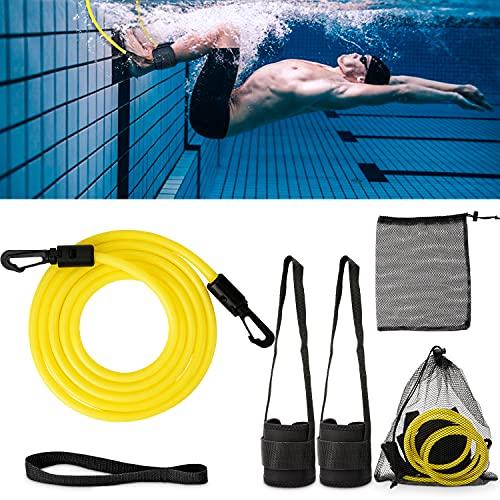 Schwimmtraining Gürtel,Einstellbare Pool Schwimmgürtel,Schwimmgurt fuir Pool,Zugseil Schwimmen Pool Training,für Schwimmingpools Widerstandstraining,für Erwachsene/Kinder (2m Gelb)