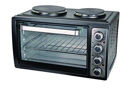 Team Kalorik Kleinküche mit Multiofen und 2 Kochplatten (bis 230°C), 28 l Innenraumvolumen, 3100 W, Metall/Glas, Schwarz, TKG MK 1002