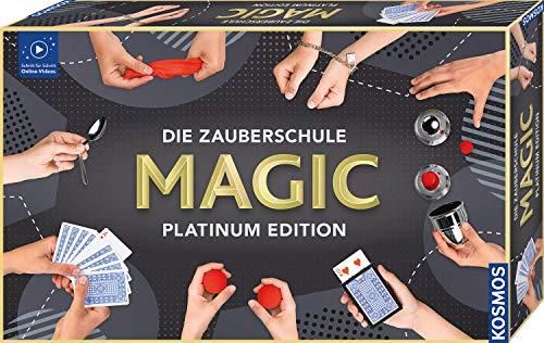 KOSMOS 697082 Die Zauberschule MAGIC Platinum Edition, 180 ZauberTricks, viele magische ZauberUtensilien, Zauberkasten für Kinder ab 8 Jahre, bebilderte Anleitung, OnlineErklärVideos. für alle Level