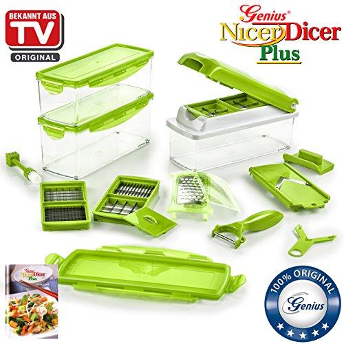 Genius Nicer Dicer Plus   Kiwi-Grün   18 Teile   Schneiden   Hobeln   Reiben   Schälen   Würfeln   Schneiden   Aufbewahren   Obst- und Gemüseschneider   Bekannt aus TV   NEU