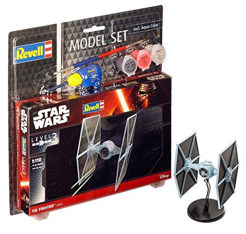 Revell Modellbausatz Star Wars TIE Fighter im Maßstab 1:110, Level 3, originalgetreue Nachbildung mit vielen Details, Model Set mit Basiszubehör, einfaches Kleben und Bemalen, 63605