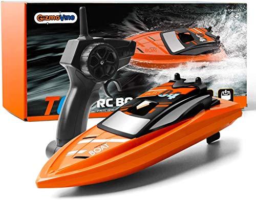 GizmoVine Ferngesteuertes Boot für Pools und Seen,RC Boot 2.4 GHz Outdoor Adventure Elektro-Rennboote für Kinder und Erwachsene (Orange)