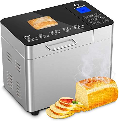 MooSoo Brotbackautomat mit 25 Backprogramme, 3 Backfarben und 3 Brotgrößen, ca. 2L, mit Wärmehaltung, Ganzglasoberfläche, Multifunktionaler Brotbackautomat mit Beobachtungsfenster