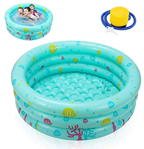 Ucradle Planschbecken Babypool Kinderpool , Ø100x27cm Aufblasbarem Baby Pool Rund Schwimmbecken Kinder Schwimmbad mit Aufblasbarem Sicherheits-Boden mit Kostenlose Luftpumpe, Grün