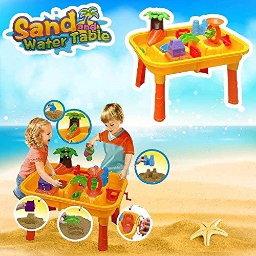 DRULINE Sand & Wasser Spieltisch Spielzeug Sandspieltisch Wasserspieltisch Buddeltisch Zubehör 2IN1inkl.Kinder Sandspielzeug ab 3 Jahren 67x42x39 cm (Gelb/Orange) 24 TLG