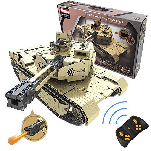 CELMAN QIHUI Tiger 1 RC Panzer Tank mit Schießen Kanone Mechanical Master Blocke 1276 Teilen