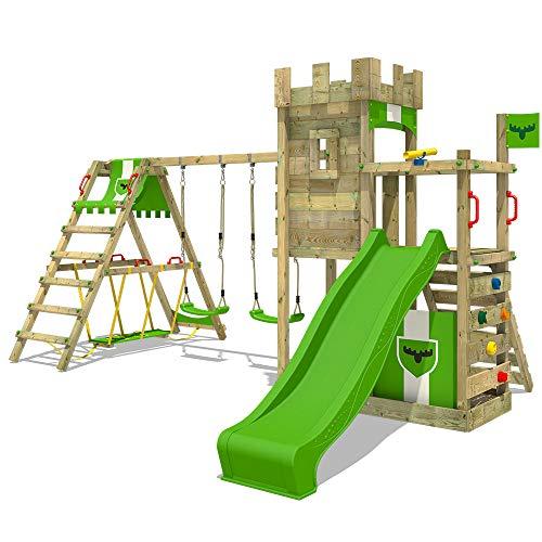 FATMOOSE Spielturm Ritterburg BoldBaron mit Schaukel SurfSwing & apfelgrüner Rutsche, Spielhaus mit Sandkasten, Leiter & Spiel-Zubehör