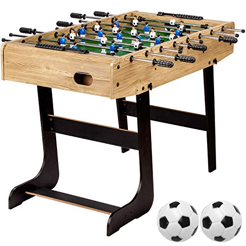 """Maxstore Tischfussball """"Belfast"""", klappbar, Farbe: Holzdekor hell, nahtlos hochgezogene Spielfeldecken, inkl. 2 Bälle, Kicker Kickertisch Tischkicker"""