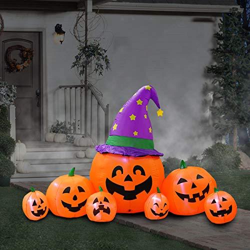 240cm aufblasbare Halloween Kürbisbeet aufblasbare Familie Laterne Dekoration für Home Yard Lawn Garden Party Indoor Outdoor