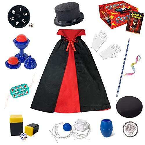 Kinder Zauberkasten - Anfänger Kinder Zaubertricks Set mit Zauberstab, Zylinder, Kostüm & vieles mehr, Neuheit Magie Requisiten Zauber Tricks Geburtstag Weihnachtsgeschenk für Magier Junge Mädchen