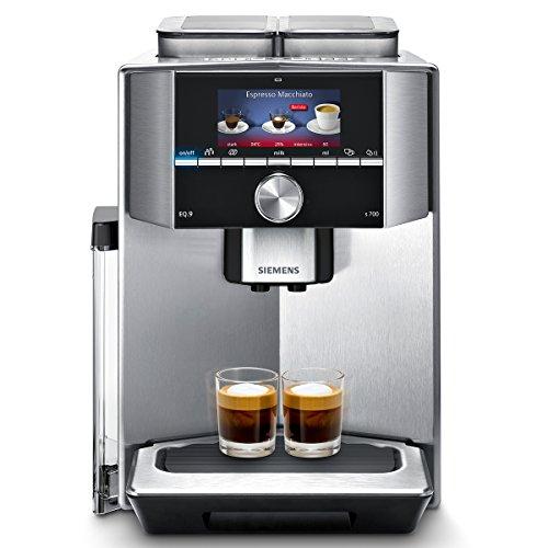 Siemens TI917531DE EQ.9 s700 Kaffeevollautomat (1500 Watt, maximales Aroma, 2 Bohnenbehälter, vollautomatische Dampfreinigung, Baristamodus, sehr leise, iAroma) edelstahl