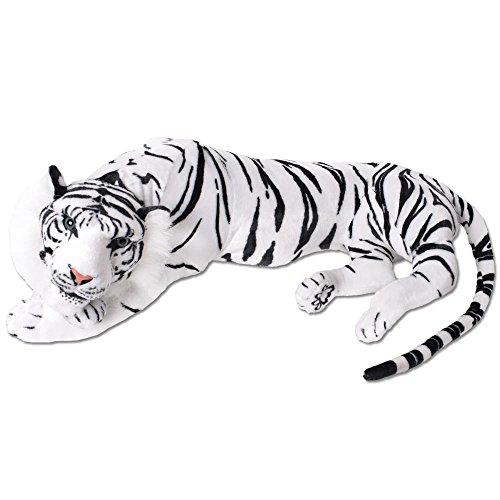 TE-Trend XXL Plüschtier Tiger Kuscheltier Stofftiger lebensechte Raubkatze liegend Dschungel Steppe 90 cm weiß schwarz getigert