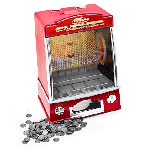 GOODS+GADGETS Münzschieber Geldspielautomat Spielautomat Spielhallen Automat Coin Pusher; Glückspiel-Automat mit Casino Sound & Lichteffekten (Münzschieber)