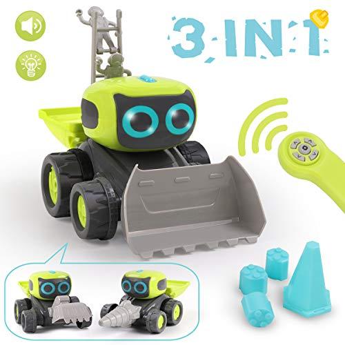 REMOKING RC Roboter Auto Spielzeug, Ferngesteuertes Baufahrzeug Spielzeug Geschenke für Kinder, 3 in 1 Montage Baufahrzeug Spielzeug, Elektrisches Lernspielzeug Auto mit Lichtern & Musik & Tanzen