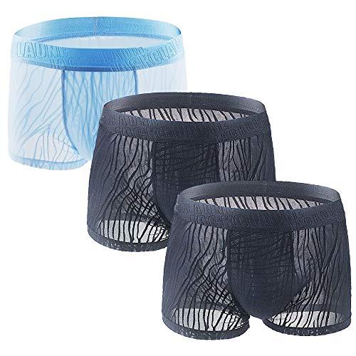 Litthing Herren EIS-Seide Lace Mesh Boxershorts U konvex Dreidimensionales Design Atmungsaktive Unterhose 2 Schwarz + 1 Himmelblau (2XL)
