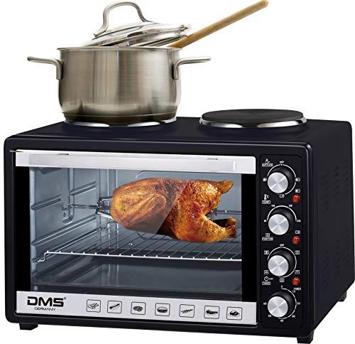 DMS 48 Liter Mini Backofen mit Kochplatten   2 in 1 Küchengerät   2000 W Pizzaofen mit Innenbeleuchtung   zwei Kochplatte mit 1000 W und 600 W   Drehspieß   Timer   stufenlos regulierbare Temperatur