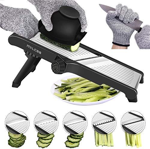 MILcea Gemüsehobel Mandolinenschneider, Multifunktion Edelstahl Gurkenhobel, Verstellbar Kartoffelreibe Küchenreibe Gemüsereibe