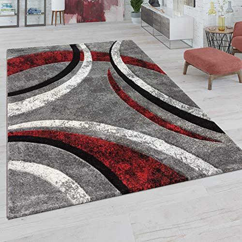 Paco Home Teppich Wohnzimmer Kurzflor Vintage Handgearbeiteter Konturenschnitt 3D Optik, Grösse:120x170 cm, Farbe:Grau-Rot