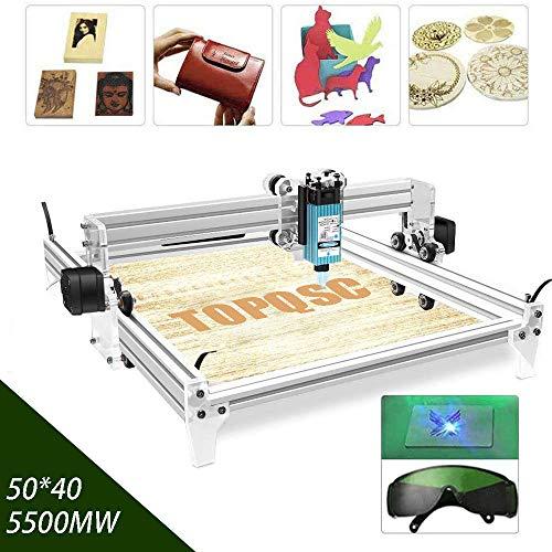 5500MW CNC Laser Graviermaschine Kit, TOPQSC 50x40 CM DIY Desktop Drucker Logo Bild Kennzeichnung Drucker, 12 V USB Holzschnitzerei Gravur Schneidemaschine