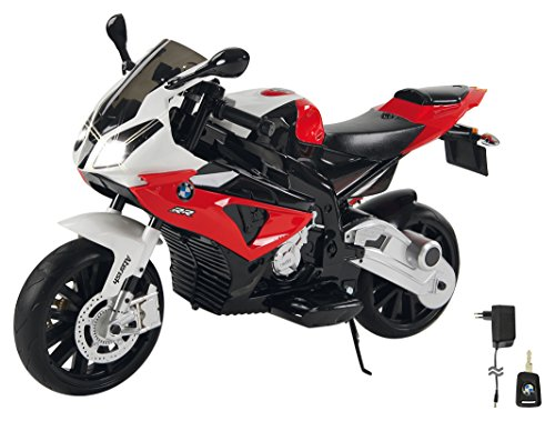 Jamara 460280 Ride-on Motorrad BMW S1000RR rot 12V – 2-Gang, leistungsstarker Antriebsmotor & Akku-Fahrzeit bis 90 Min, Hupe & Motorgeräusch, LED-Scheinwerfer,Stützräder abnehmbar,Seitenständer
