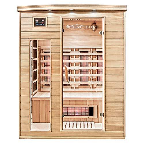 Home Deluxe – Infrarotkabine Gobi L – Vollspektrumstrahler, Holz: Hemlocktanne, Maße: 153 x 110 x 190 cm   Infrarotsauna für 2-3 Personen, Sauna, Infrarot, Kabine