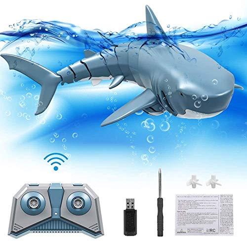 Laelr RC Boot Haifisch Spielzeug für Kinder, 2.4G ferngesteuertes elektrisches Rennboot für Pools mit Simulations-Haifisch-Spoof-Spielzeug, für Poolteichdekoration oder Partyspielzeug-Partygeschenke