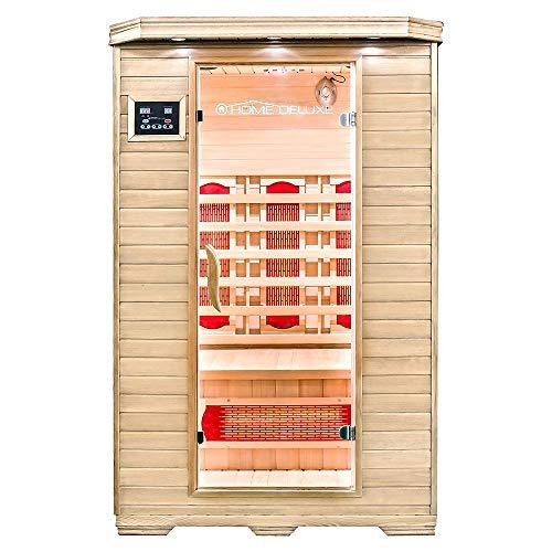 Home Deluxe – Infrarotkabine – Redsun M – Vollspektrumstrahler – Holz: Hemlocktanne - Maße: 120 x 105 x 190 cm – inkl. vielen Extras und komplettem Zubehör | Infrarotsauna für 2 Personen, Infrarot
