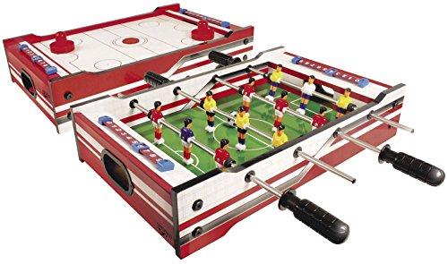 Carromco 6002 Multi-Spiel 2in1 – Multigame Spieltisch mit 2 Tischspielen, Tischhockey mit 2 Pushern und Pucks auf der einen Seite, Tischfußballspiel mit 2 Bällen auf der anderen Seite