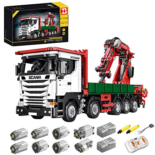 BSPAS Technik Kran LKW Technic Ferngesteuert Kranwagen, 3925 Teile Technik Kranwagen Modell mit 8 Motoren, Akku/Empfänger und Fernsteuerung Set Kompatibel mit Lego Technik