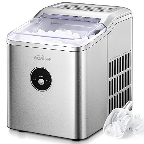 Kealive Eiswürfelmaschine, 12kg pro Tag, 6-8 Minuten Produktionszeit, 2.2 L, Leise DC-Fan, Runde Eiswürfel, Infrarotsensor, Einfache Bedienung Ice Maker, Eiswürfelbereiter ohne Wasseranschluss
