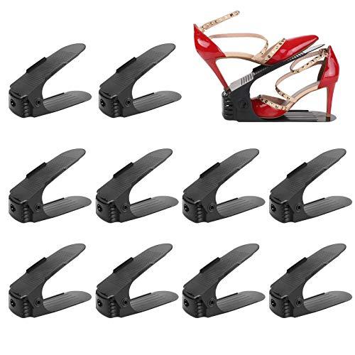 femor 10 Stück Einstellbare Schuhregale, Schuhstapler/Schuhhalter Set, 3 höhenverstellbar, Platzsparend, rutschfest,Kunststoff-schwarz