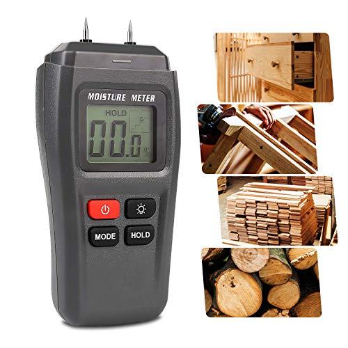 Feuchtigkeitsmessgerät, HOSPAOP Holz Feuchtemessgerät, Pin-Typ Feuchtigkeitsmesser mit HD-LCD Hintergrundbeleuchtun für Holz, Brennholz, Pappe, Papier