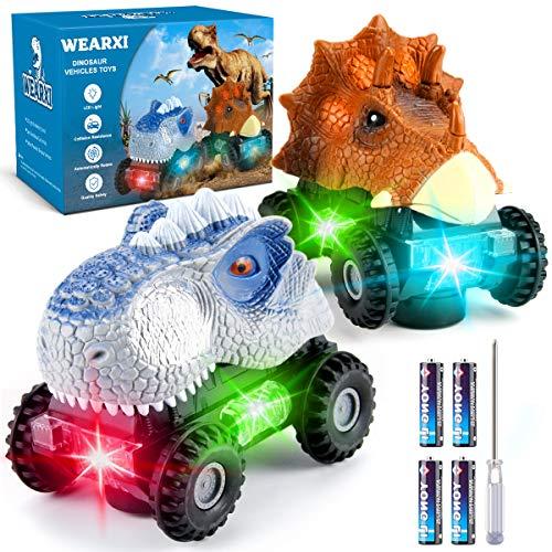 WEARXI Dinosaurier Spielzeug - 2Pack LED-Licht Realistischer Sound Geschenke Dinosaurier Auto Jurassic World - Geschenke Junge Dinosaurier Spielzeug ab 3 6 8 Jahren Junge, Dino Spielzeug für Kinder