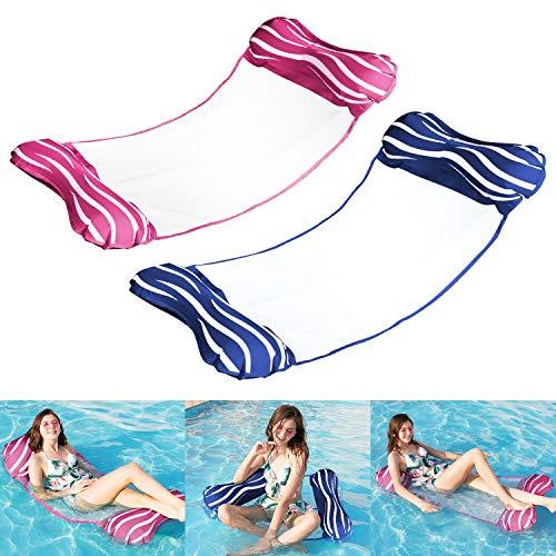 Aufblasbare Wasserhängematte, Tencoz 2 Pcs Luftmatratze 4 in 1 Schwimmmatratze, Floating Lounge Stuhl Strandmatte für Wasserspaß/Schwimmbad/Pool/Erwachsene