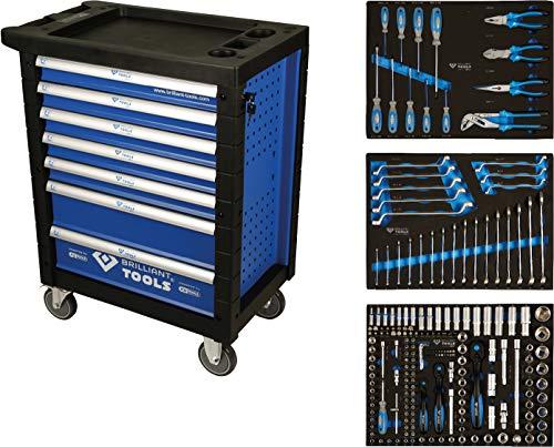 BRILLIANT TOOLS BT153207 Blau/Silber Werkstattwagen mit 7 Schubladen und 207 Premium-Werkzeugen [Powered by KS TOOLS]