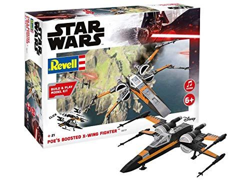 Revell Build & Play 06777 Poe's Boosted X-Wing Fighter, bewegliche Teile, Light&Sound, 1:78, 21,8 cm Disney Star Wars Modellbausatz für Einsteiger zum Stecken und Spielen, farbig