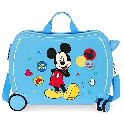 Disney Mickey Enjoy the Day Kinder-Koffer Blau 50x38x20 cms Hartschalen ABS Kombinationsschloss 34L 2,1Kgs 4 Räder Handgepäck