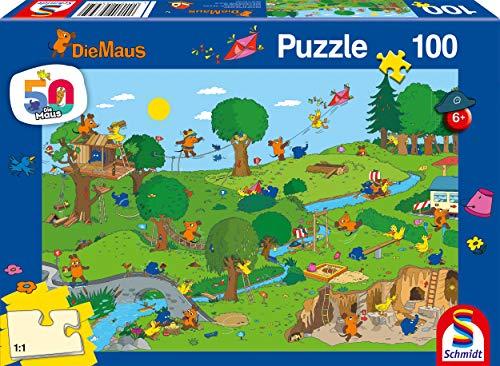 Schmidt Spiele 56395 Die Maus, Im Spielpark, 100 Teile Kinderpuzzle, Bunt