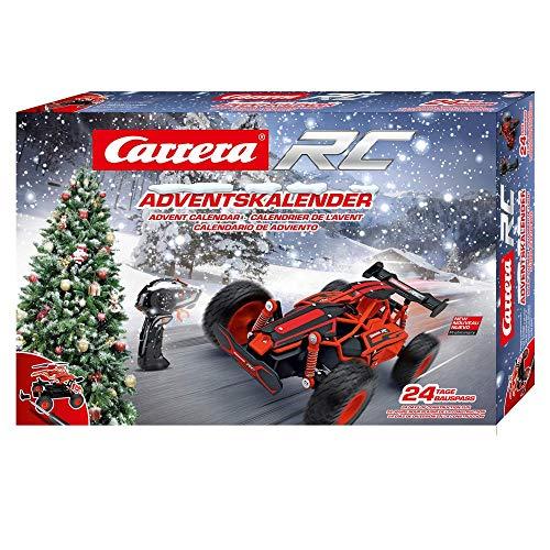 Carrera RC Adventskalender 2,4 GHz Buggy, Rot │ Ferngesteuertes Auto aus 24 Bauteilen bauen │Elektro-Mini-Car zum Mitnehmen inkl. Fernbedienung │Weihnachtskalender für Kinder ab 12 Jahren & Erwachsene