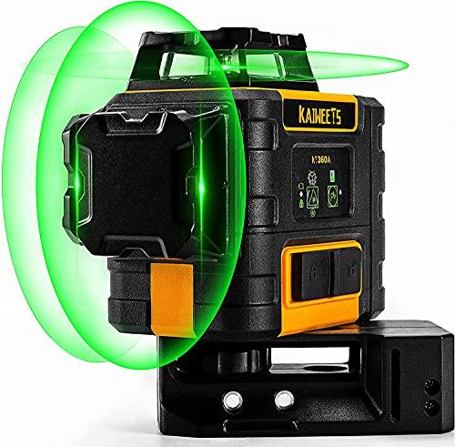 Kreuzlinienlaser Grün 3x360°, Linienlaser KAIWEETS KT360A selbstnivellierender Laser Nivelliergerät, manueller Modus ab 4°(Blinkmodus), Arbeitsbereich: 30m (60m mit Empfänger), Arbeitszeit bis 44h