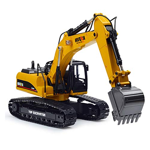 SHZJ Jungen- Und Erwachsenenfernbedienung Professional Excavator Model 1:14 2.4G Vollmetall-Druckguss 23CH Off Road RC Hydraulikbagger-LKW Mit Rauchfunktion