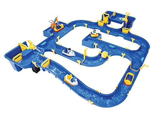 BIG - Waterplay Amsterdam - Wasserbahn blau, 175 x 143 x 27cm große Bahn, mit 4 Booten, Wasserflugzeug und 3 Spielfiguren, 2 Schleusen, Wasserpumpe und Hafenbecken, ab 3 Jahren