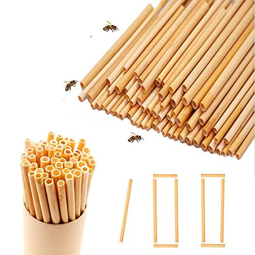 100 pcs Bienenhotel Nisthilfen,Insektenhotel Füllmaterial,Nisthülsen für Wildbienen,Nisthülsen,Schilfrohrhalme,Nisthilfe für Bienen,Pappröhrchen für Insektenhotel