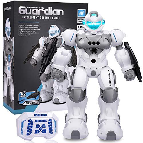 Aiboria RC Roboterspielzeug, intelligente intelligente programmierbare Fernbedienungsroboter Gestenerkennung Singen Singen Gehen Tanzroboter für Jungen Mädchen (Weiß)