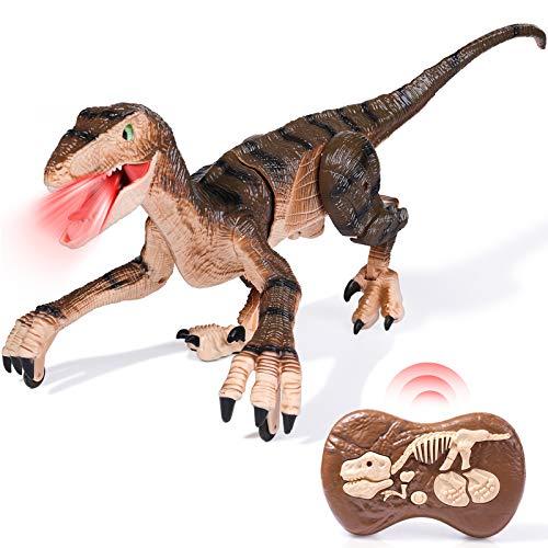 rolimate Dinosaurier Spielzeug, RC Dinosaurier Autos für 5 6 7 8 Jährige Jungen Mädchen, Ferngesteuertes Dino Roboterspielzeug LED Beleuchtung Brüllendes Gehen, Touch-Steuerung Wiederaufladbarer