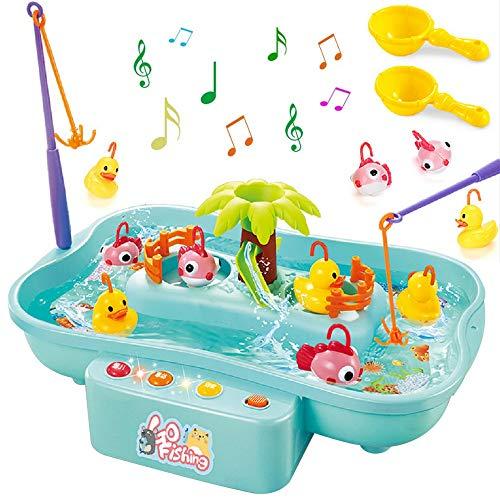 GOLDGE Angeln Spielzeug Badespielzeug Badewannenspielzeug Wasserspiel mit Elektrischer Multifunktionaler Drehbarer Fischteich Perfekt Lernspiel Geschenk für Kinder