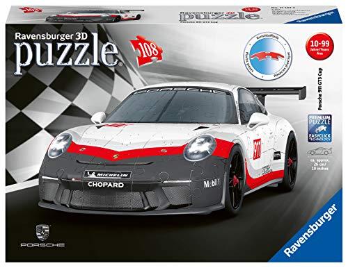 Ravensburger 3D Puzzle 11147 - Porsche 911 GT3 Cup, 3D Puzzle für Kinder und Erwachsene mit 108 Teilen, Modellauto, Modellbau ganz ohne Kleber