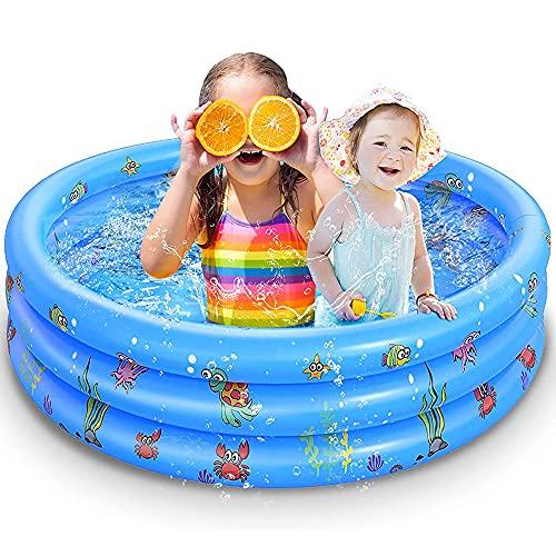 WOSNN Kinder Aufblasbarer Pool, Aufblasbares Kinder-Planschbecken Kinderpool Babypool Kinderbecken Schimmbecken/Kinderpool, 3 Rollen Durchmesser 130 cm Höhe 38 cm