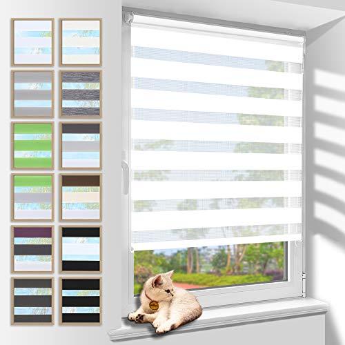 Zarnan Doppelrollo Klemmfix 40x120cm(BxH) Weiß Sichtschutz,Rollos für Fenster Tür ohne Bohren Blickdicht und Sonnenschutz,Duo Rollo Fensterrollo innen Wandmontage auch möglich